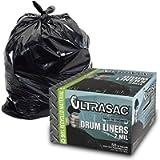 Aluf Plastics Heavy Duty 55 Gallon Trash Bags - (Large 50 Pack /w Ties) - 2 MIL Industrial Strength Plastic Drum Liners…