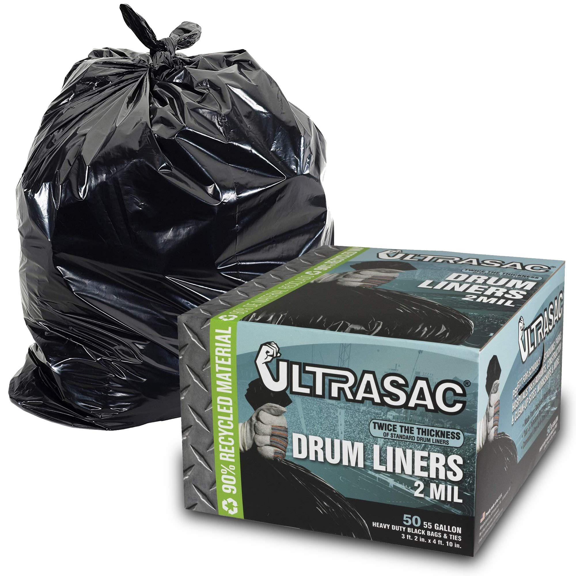 Aluf Plastics Heavy Duty 55 Gallon Trash Bags - (Large 50 Pack /w Ties) - 2 MIL Industrial Strength Plastic Drum Liners 38' x 58' Professional Black Garbage Bags for Construction, Contractors, Leaf, Yard - 796695 by Aluf Plastics