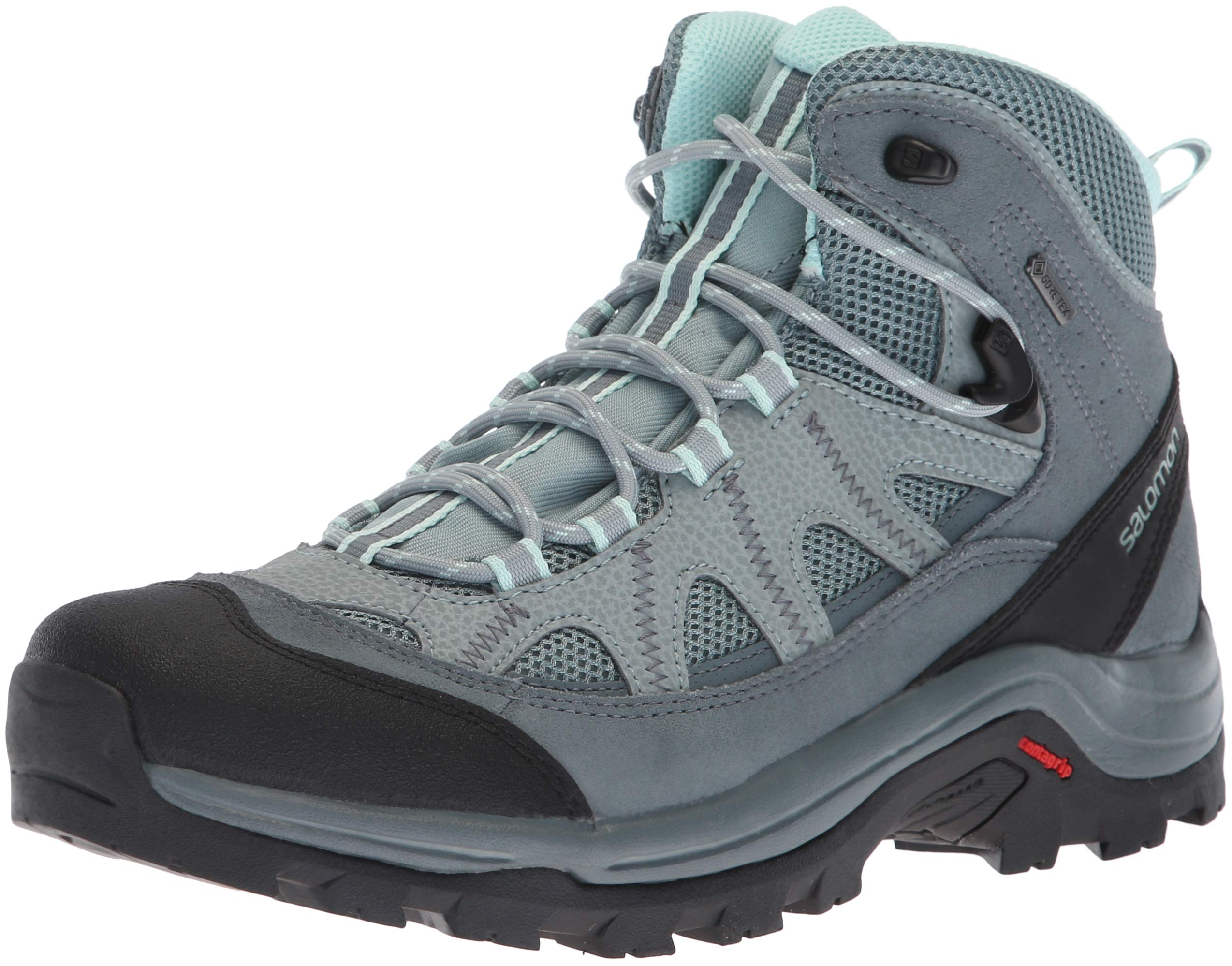 Salomon Women's Authentic LTR GTX W Backpacking Boot, Lead/Stormy Weather/Eggshell Blue, 8 B US