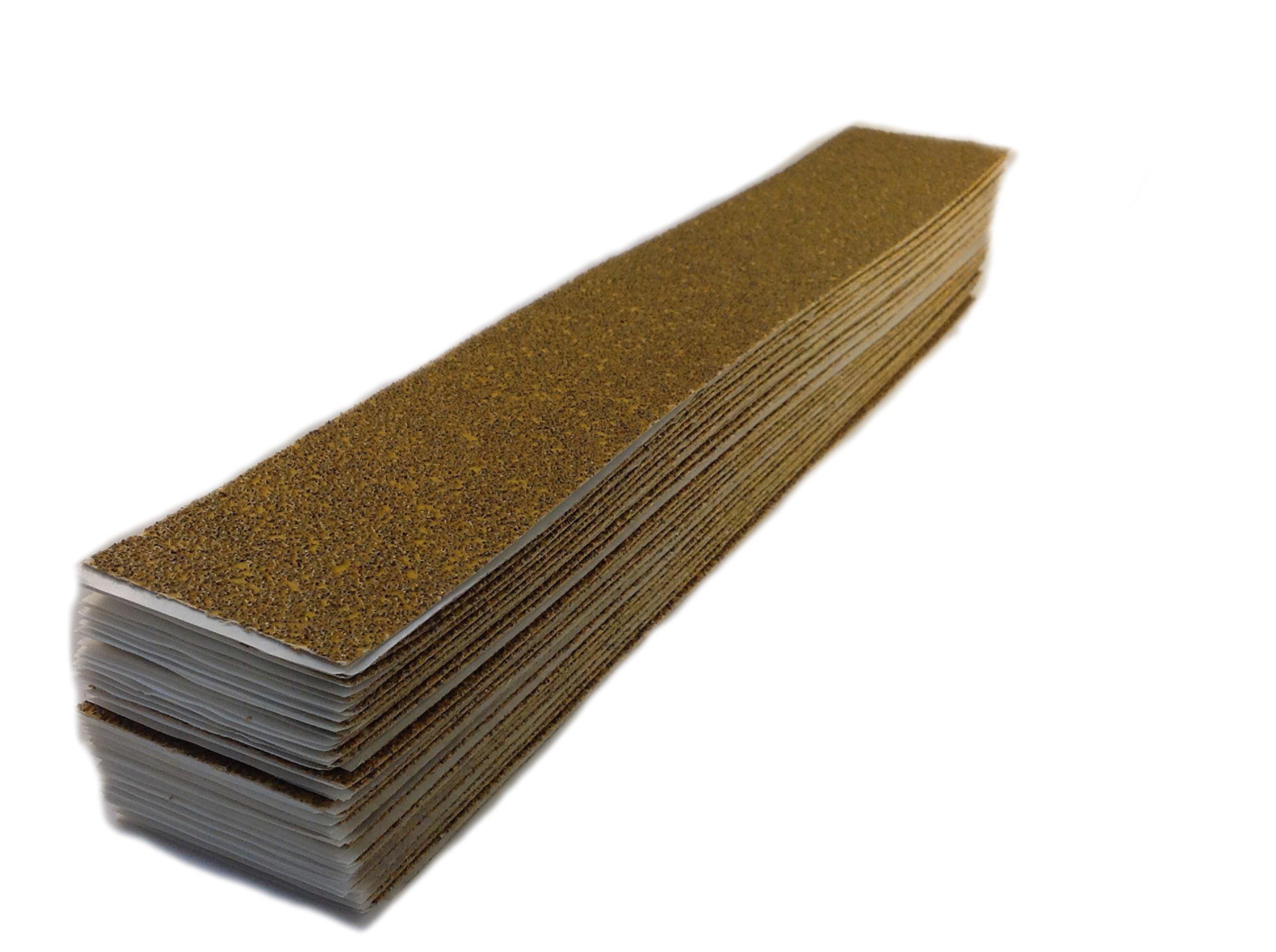 Karebac HSLBY36 Longboard 2-3/4'' x 16-1/2'' 36 Grit PSA Sticky-Back Sheets - Gold Aluminum Oxide (50 Pack)