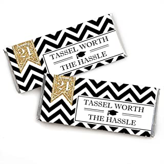 product image for Big Dot of Happiness Gold Tassel Worth The Hassle - Candy Bar Wrappers 2021 Graduation Party Favors - Set of 24