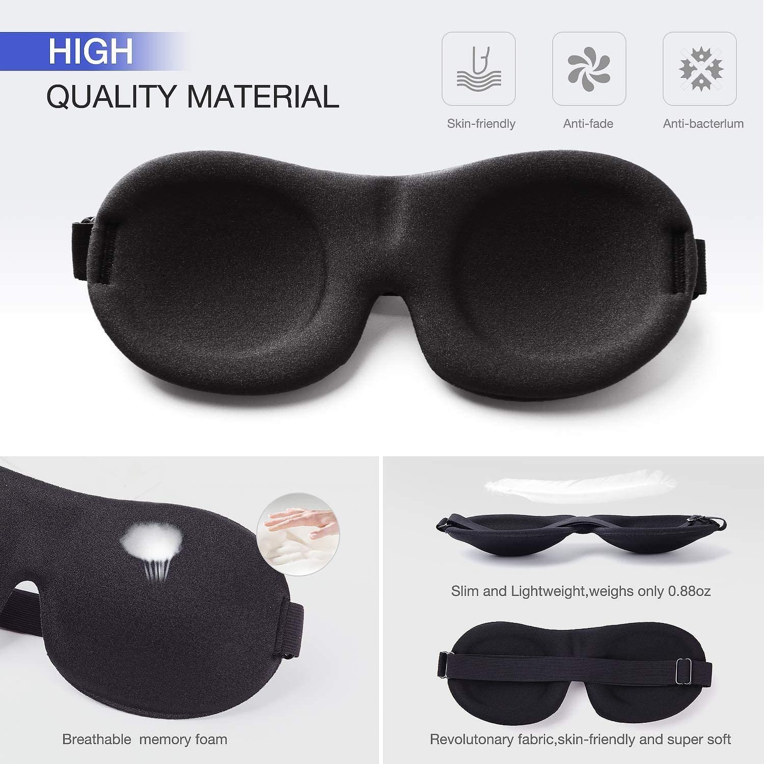 YIVIEW Sleep Mask Pack of 3, Lightweight & Comfortable Super Soft Adjustable 3D Contoured Eye Masks for Sleeping, Travel, Shift Work, Naps, Night Blindfold Eyeshade for Men Women, Gray/Red/Black: Health & Personal Care