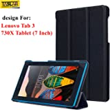 Taslar Leather Flip Case With Stand Function Cover With Magnet Lock For Lenovo Tab 3 730X Tablet (7 Inch)(Black)