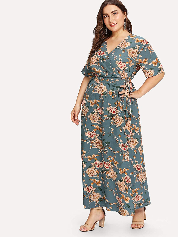 Romwe Women\'s Plus Size Floral Print Buttons Short Sleeve V Neck ...