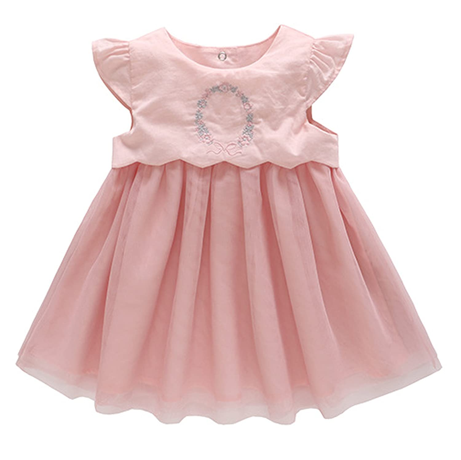 NOMSOCR Infant Baby Gilrs Sleeveless Princess Dress Tulle Tutu Birthday Party Sundress