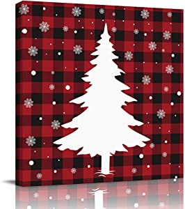 Sailground Canvas Wall Art Paintings Christmas Red Buffalo Check Plaid Trees Square Abstract Artwork Wall Decor Framed for Home Decoration Ready to Hang, 12x12 inch