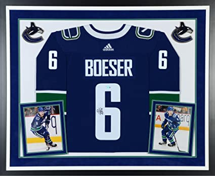 39bf81269af Brock Boeser Vancouver Canucks Deluxe Framed Autographed Blue Adidas  Authentic Jersey - Fanatics Authentic Certified