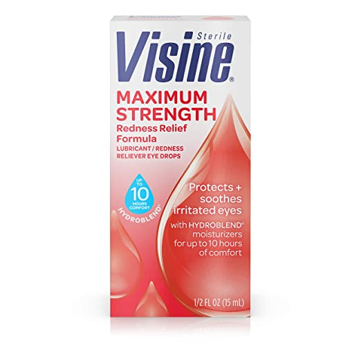 Visine Maximum Strength Redness Relief Formula Eye Drops, 0.5 fl. oz