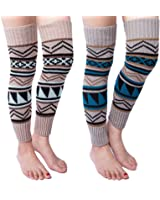 2 Pack of Womens Cable Knit Leg Warmers Knitted Crochet Long Socks