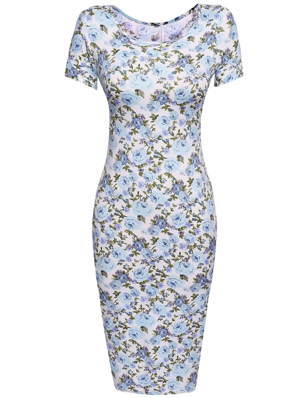 bluee Donkap Womens Floral Sweetheart Bodycons Midi Dress Short Sleeve Scoop Neck Pencil Slim Dress