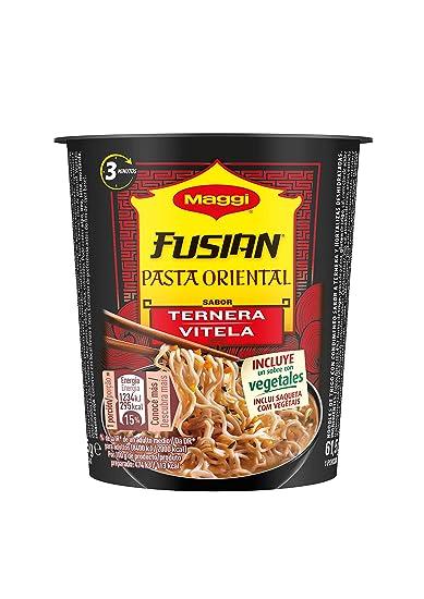 Maggi Fusian Pasta Oriental Noodles Sabor Ternera - Fideos Orientales, paquete de 8 x 62