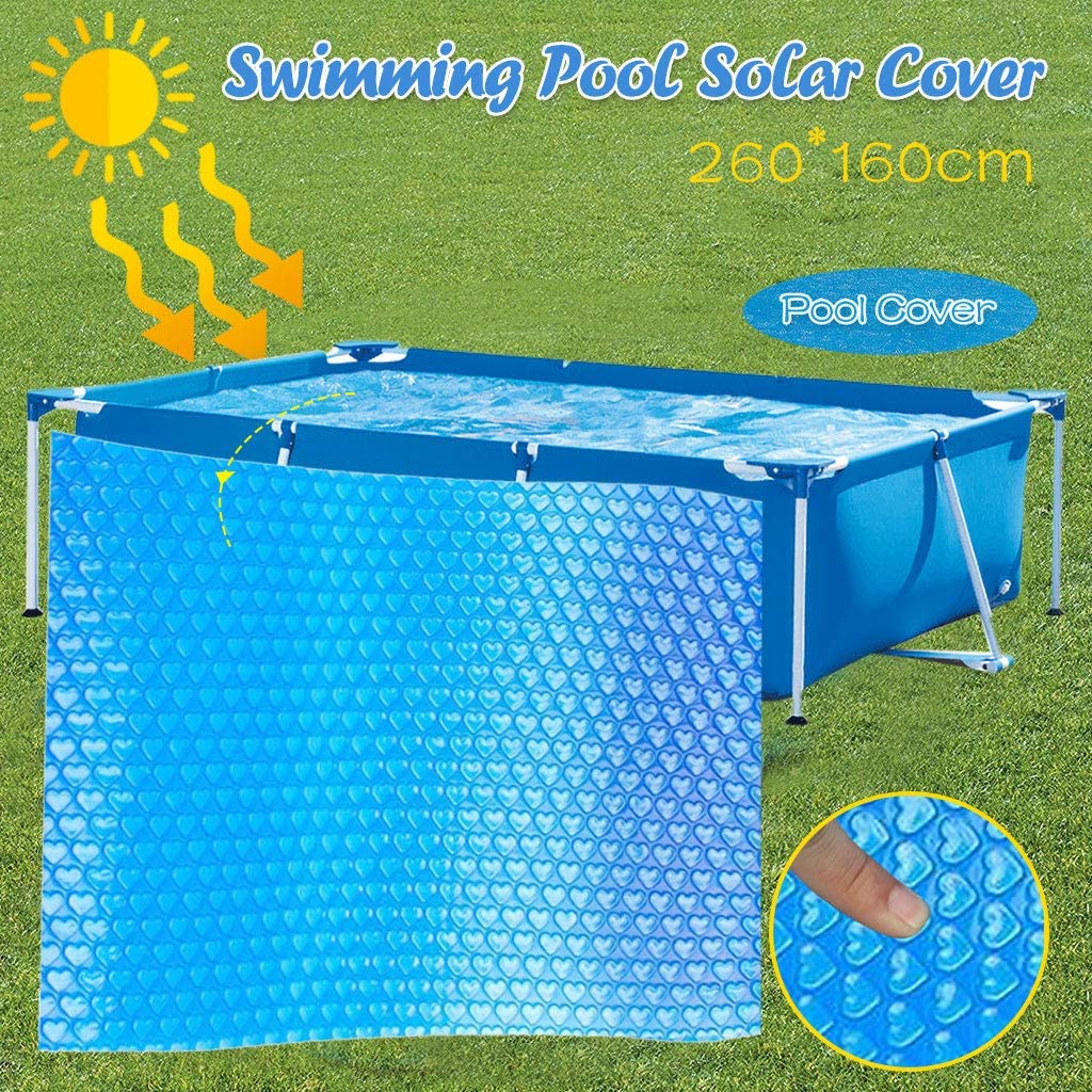 220X150cm Heating Blanket for In-Ground and Above-Ground Rectangular Swimming Pools Blue Rectangular Solar Cover Use Sun to Heat Pool Water Place Bubble-Side Facing Down in Pool