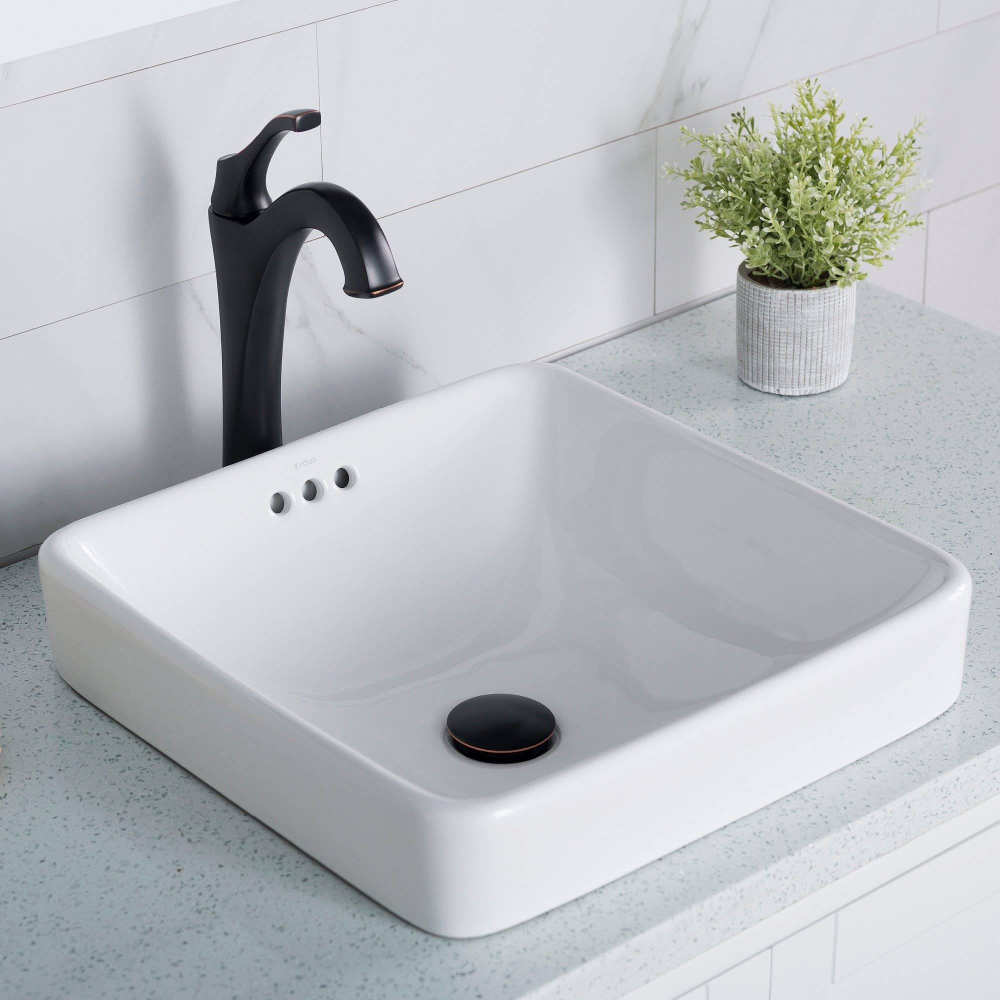 CDM product Kraus KCR-281 Modern Elavo Ceramic Square Semi-Recessed Bathroom Sink with Overflow, White big image