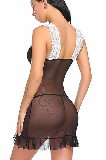 Modfine Sexy Ropa de Dormir Transparente Pijamas de Encaje con Tanga de Mujer: Amazon.es: Ropa y accesorios