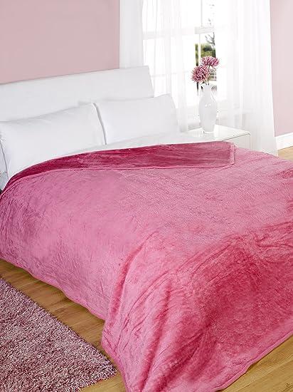 Dreamscene Luxury Faux Fur Large Mink Fleece Throw Sofa Bed Soft Warm  Blanket Pink Double 533b03226