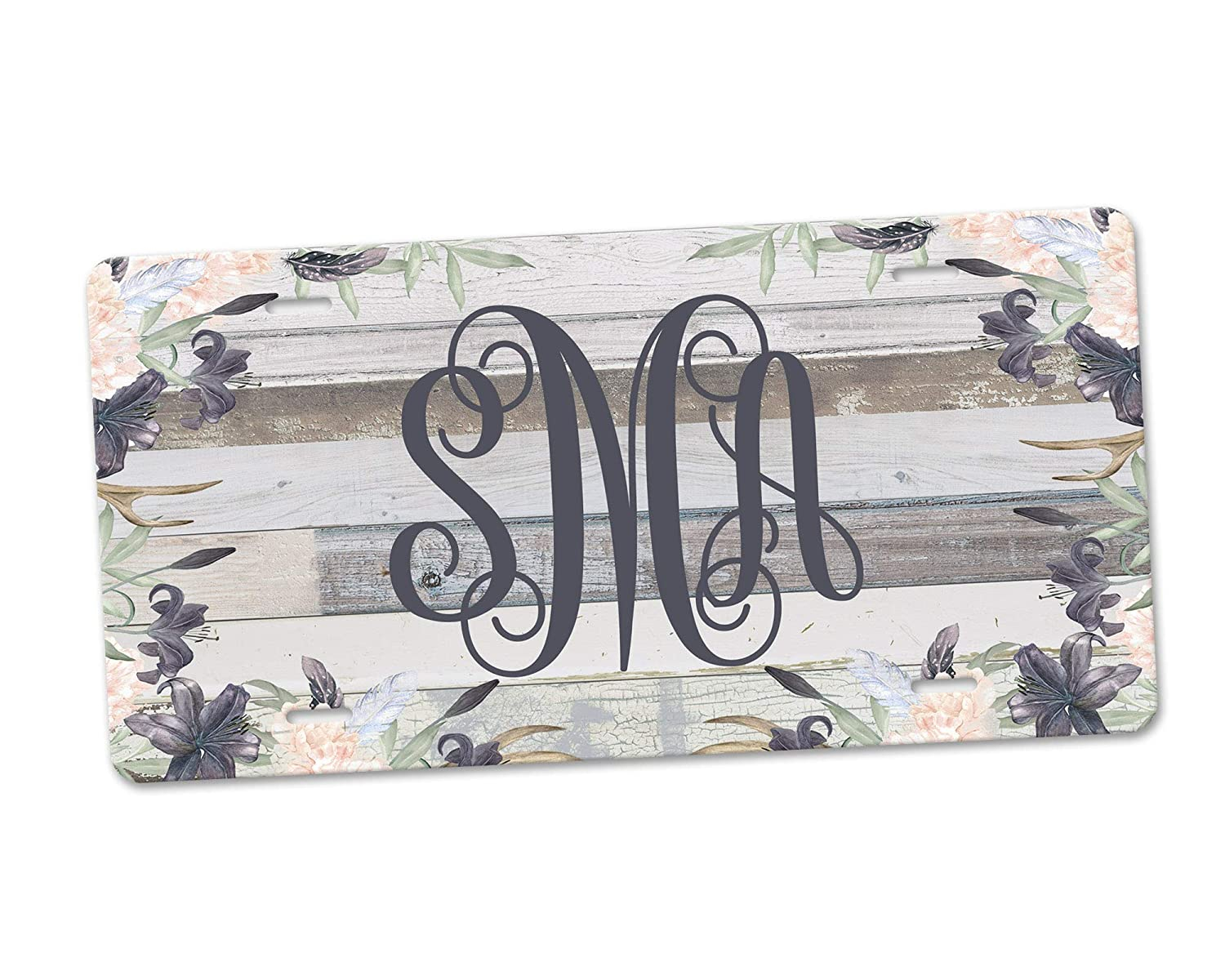 Western Boho Floral Personalized Monogram Aluminum License Plate and Grey Faux Barn Wood Background