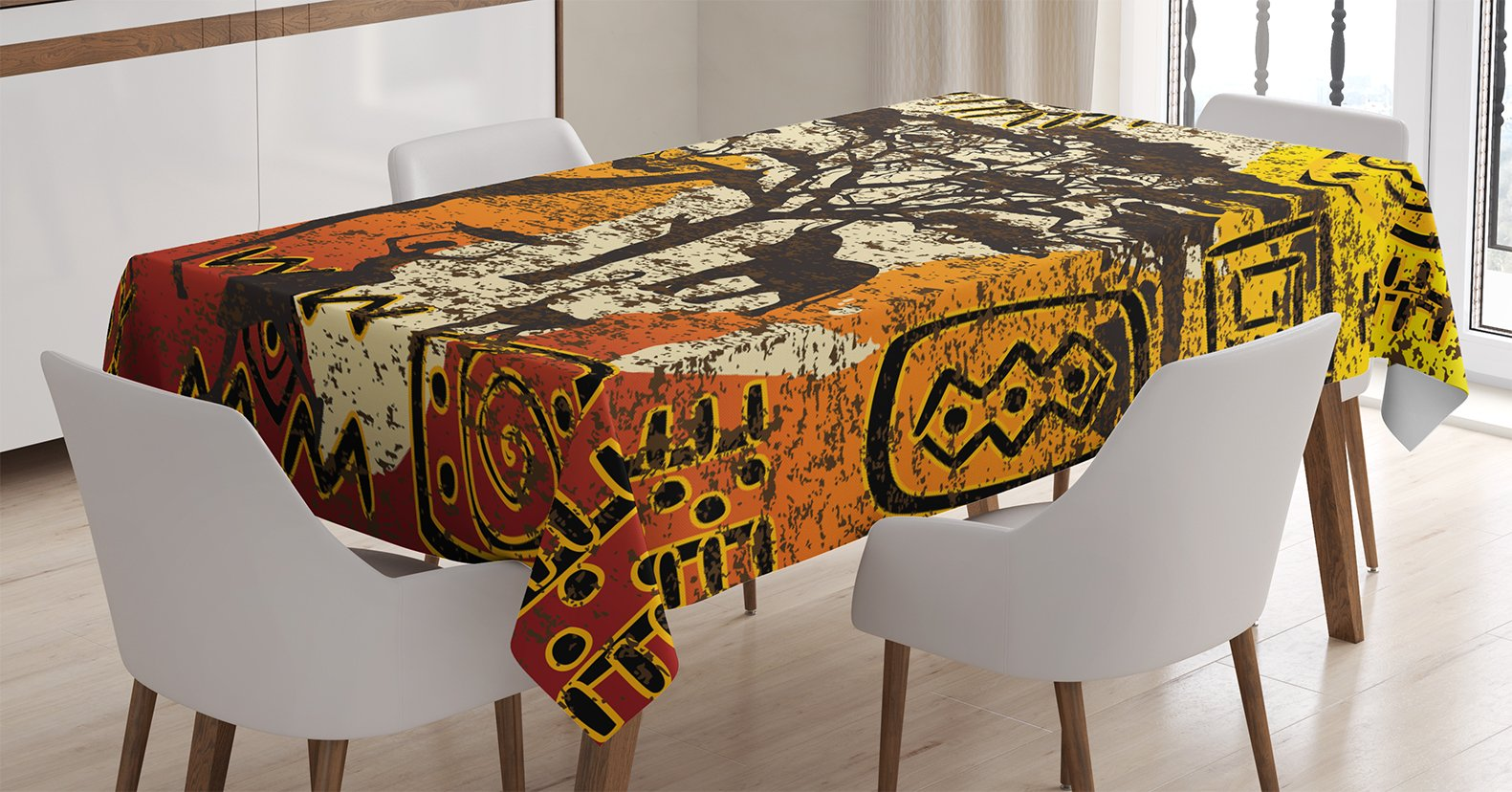 Ambesonne African Tablecloth, African Animals Safari Theme Ancient Cultural Ethnic Art Grunge Bohemian, Dining Room Kitchen Rectangular Table Cover, 60 W X 90 L inches, Yellow Orange Brown