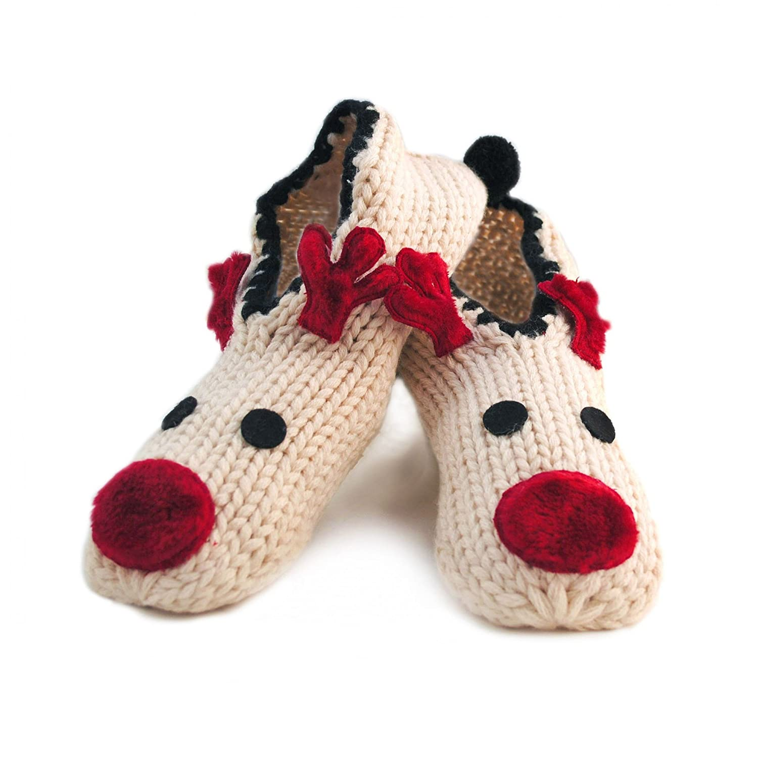 Womens/Ladies Reindeer Footsies Christmas Slipper Socks With Grippers Universal Textiles UTW368_1