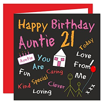 Auntie 21st Happy Birthday Card Black Board Birthdays Design 21