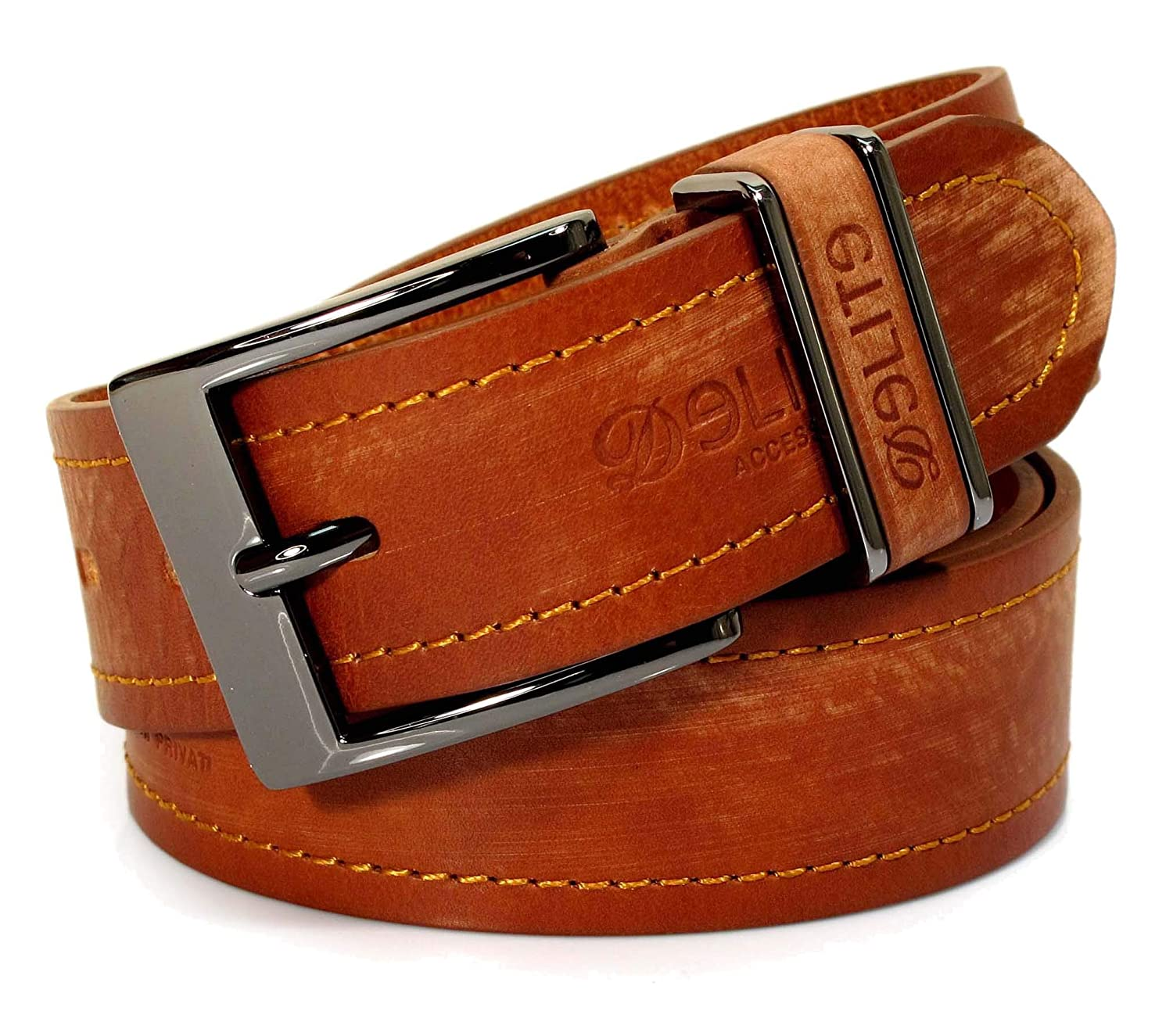 Womens Real Genuine Leather Belt Black Brown White 1.5 Wide S-XL Casual Jeans TU4