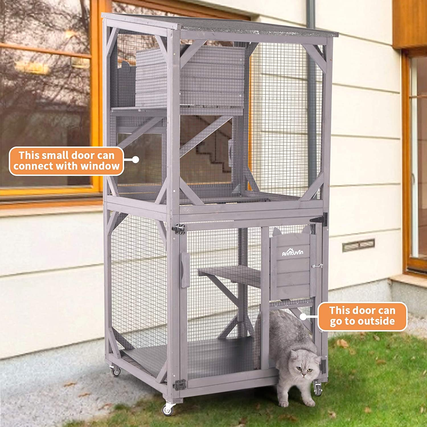 Aivituvin Wooden Cat House Outdoor and Indoor Run Large Cat Enclosure on Wheels 70.9 Upgraded Version Catio Cage with Reinforcement Wooden Strip,Waterproof Roof