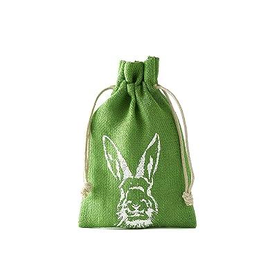 12 bolsitas de yute con motivo de conejo y cordón. Tamaño 23 x 15 cm, bolsa de yute, regalo de pascua (verde): Juguetes y juegos