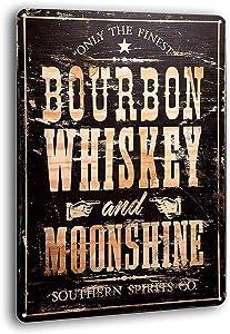 BAYABU Bourbon Whiskey Moonshine Retro Weathered Wall Decor Bar Man Cave Metal Tin Sign 8 x 12 inches