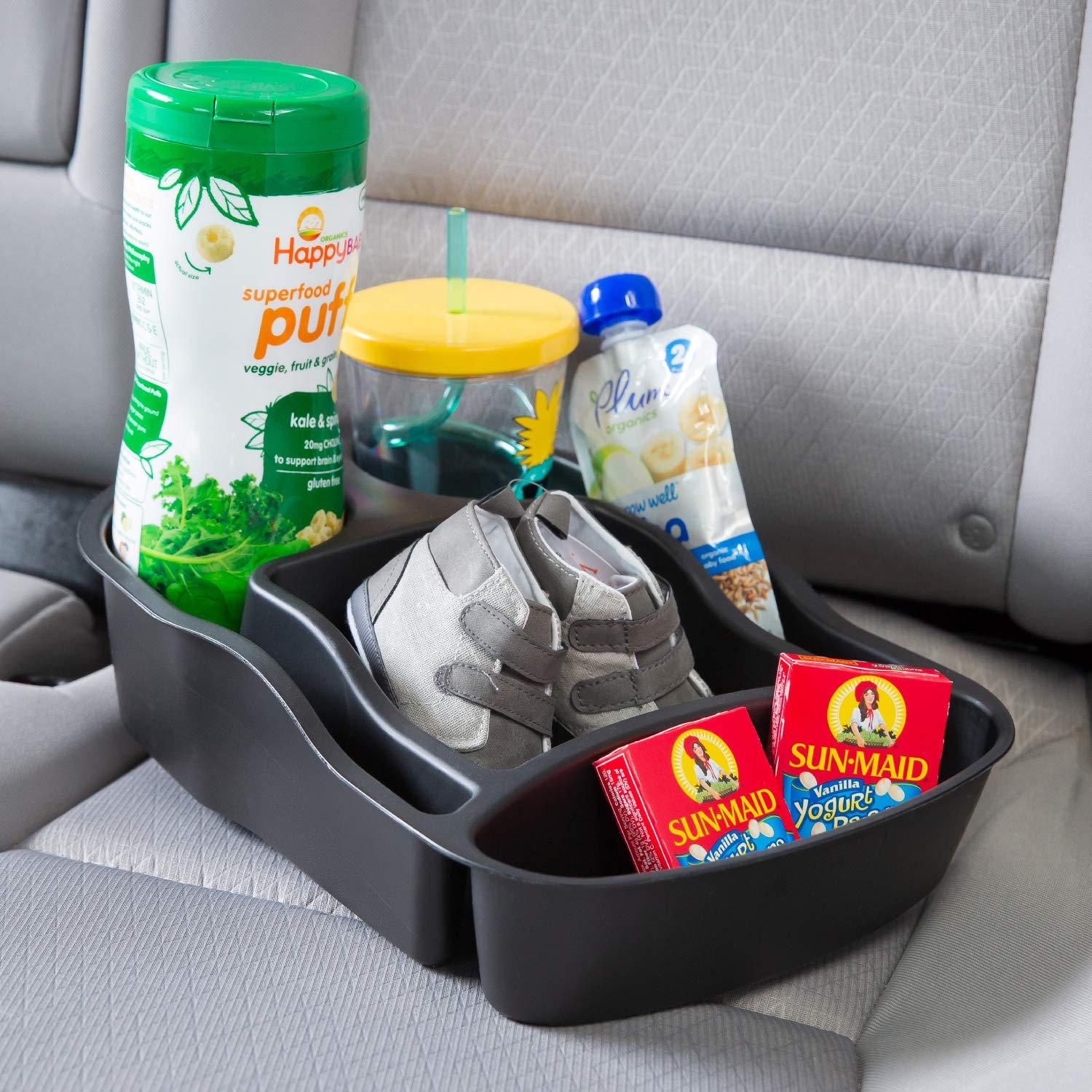 Rubbermaid 3371-00 Automotive Portable Tote Bin Organizer: Passenger Seat/Car Cargo Area Storage Caddy with Leakproof Bottom, Smal by Rubbermaid