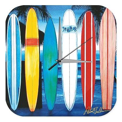 Reloj De Pared Retro Deco Tablas de surf en la playa Plexiglas Impreso
