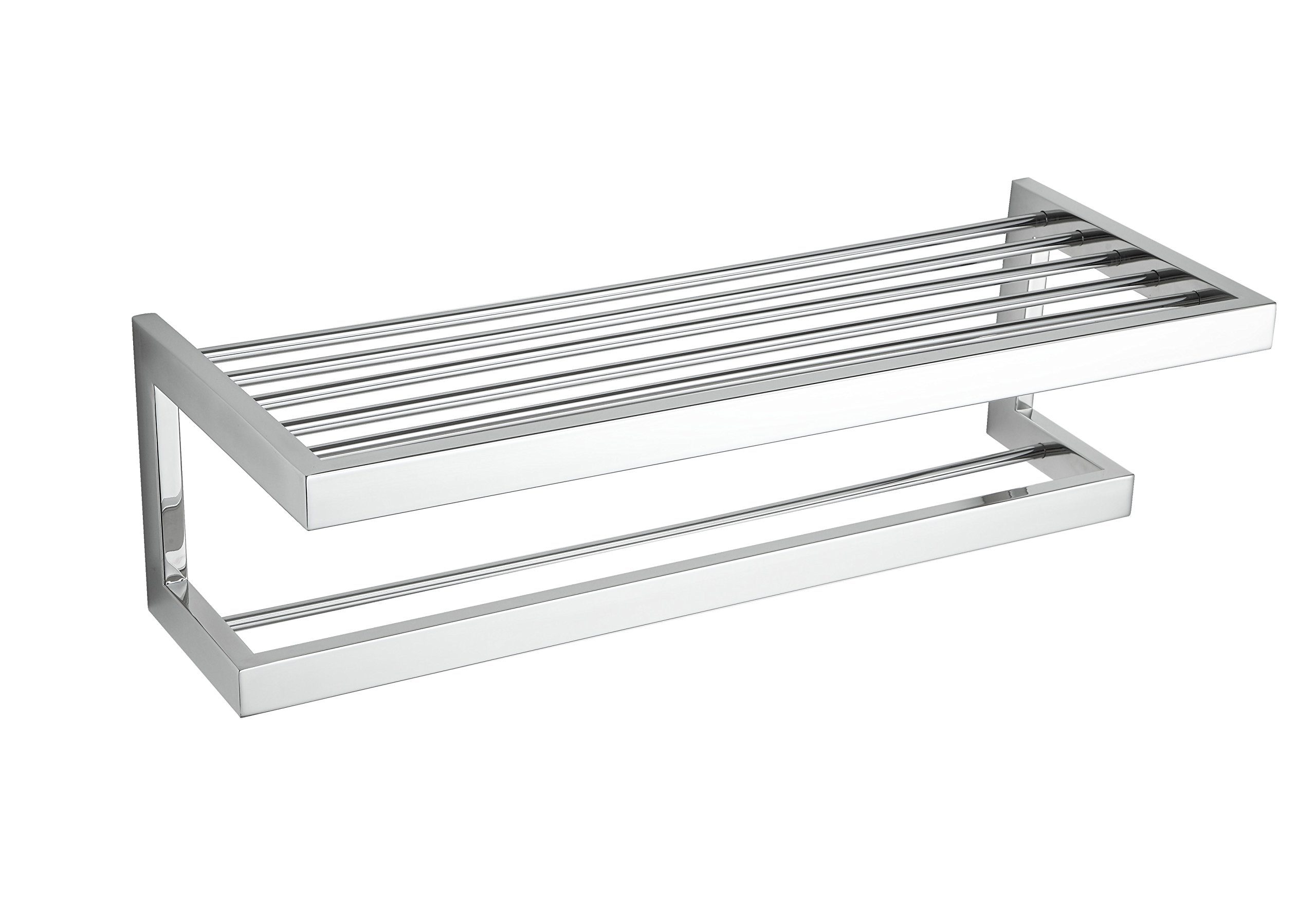 Cortesi Home CH-BR798110 Rikke Contemporary Stainless Steel Towel Bar with Shelf, Chrome