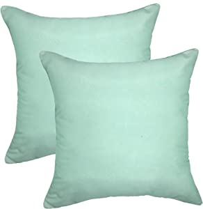 YOUR SMILE - Satin Chameleon Gradually Changing Color Decorative Throw Pillow Case 18''x18'',Solid Color, 2 Pack (Mint)