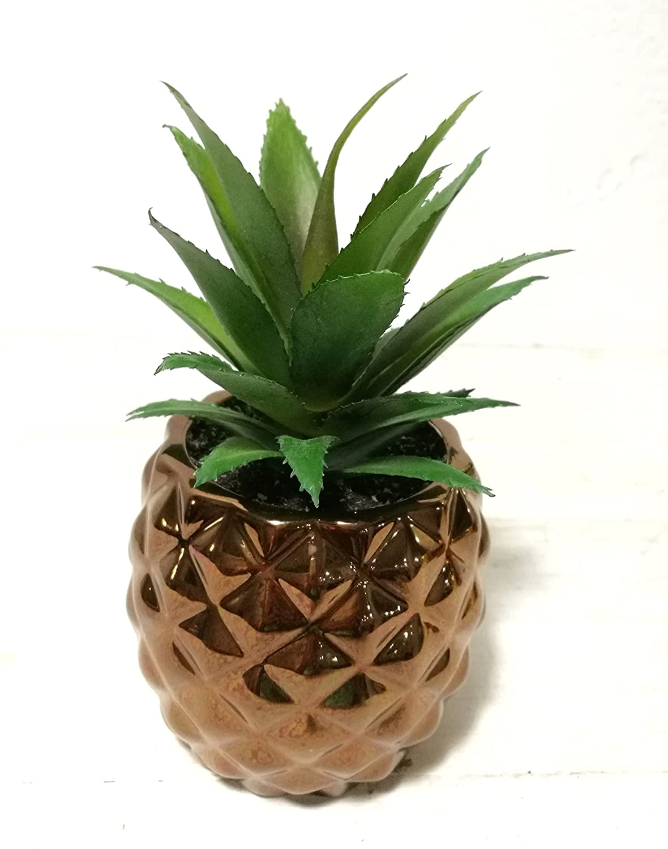 "Pretty Home Artificial Potted Succulent 7.8"" Pineapple Copper (Bronze)"