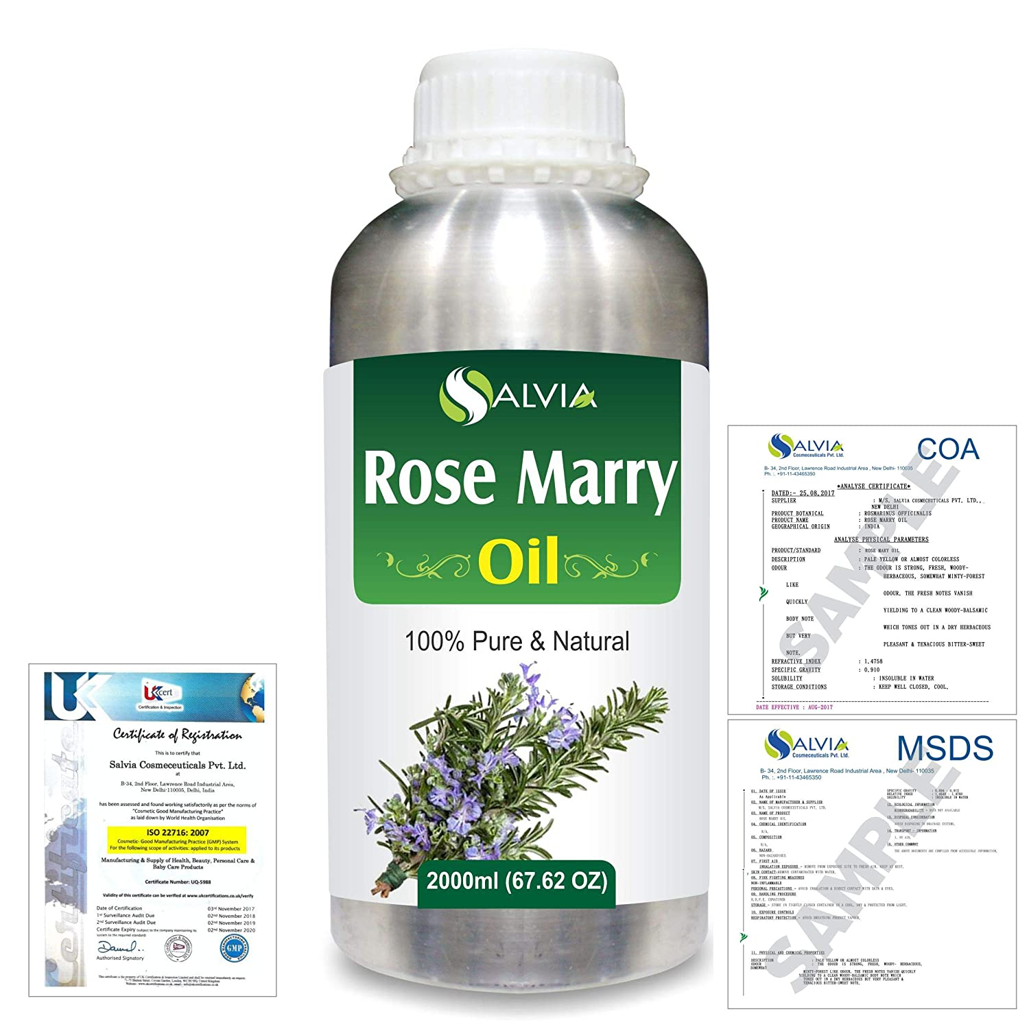 Rose Marry (Rosmarinus officinalis) 100% Natural Pure Essential Oil 2000ml/67 fl.oz. B07R4WQ78J