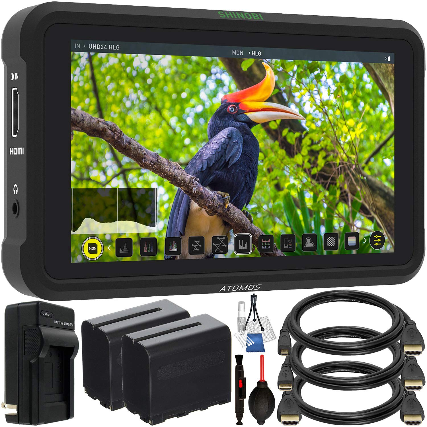 Atomos Shinobi 5.2'' 4K HDMI Monitor with Starter Accessory Bundle - Includes: 2X Extended Life NP-F975 L-Series Batteries with Charger, Standard, Mini & Micro HDMI Cables, Starter Cleaning Kit & More by Atomos