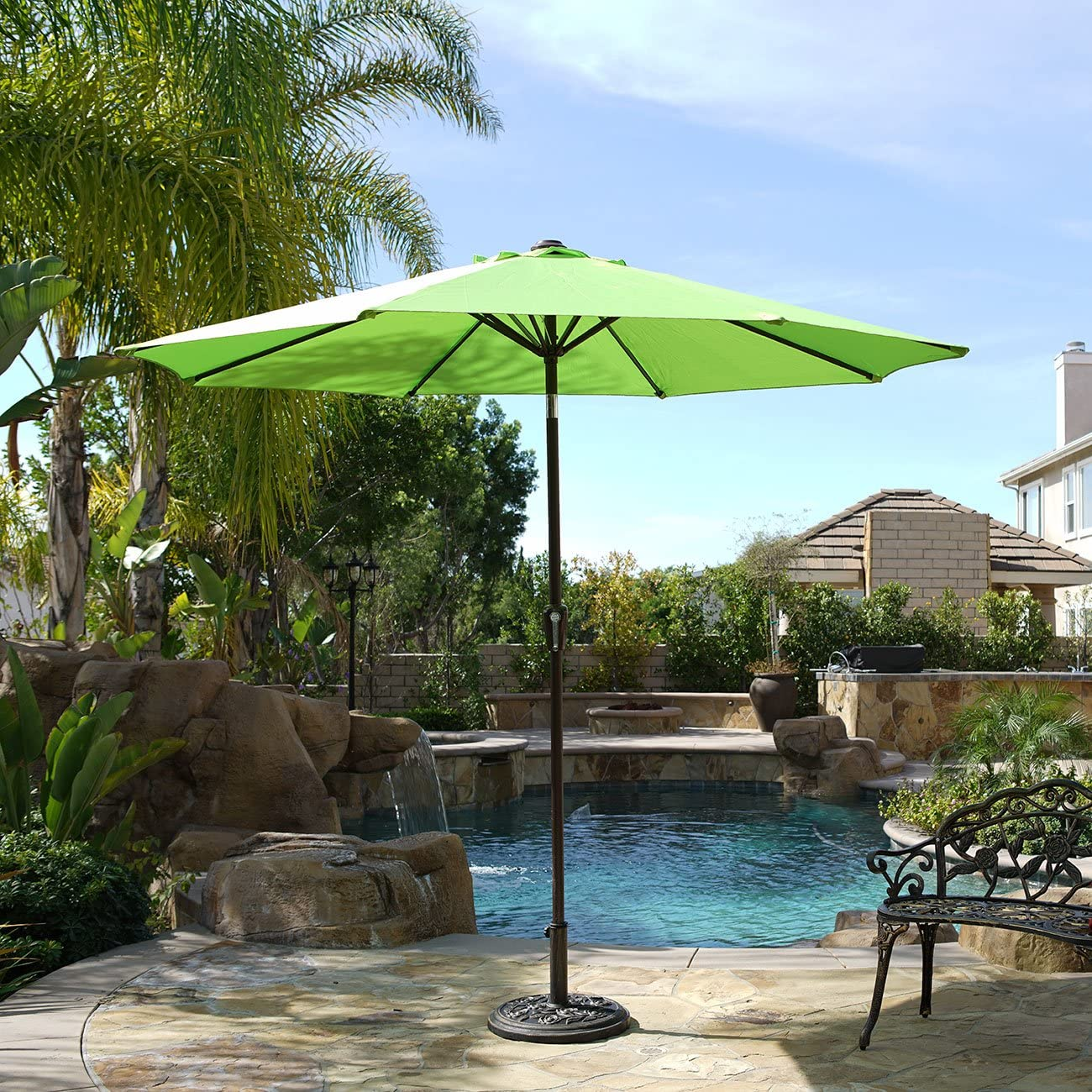 BELLEZE 9 Patio Umbrella Outdoor Table Umbrella Lawn Yard UV Backyard Garden with Heavy Duty Sturdy Ribs -Lime Green