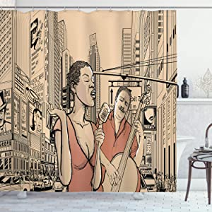 Ambesonne Jazz Music Shower Curtain, Jazz Singer with Double-Bass Player in a Street of New York UrbLifestyle, Cloth Fabric Bathroom Decor Set with Hooks, 75
