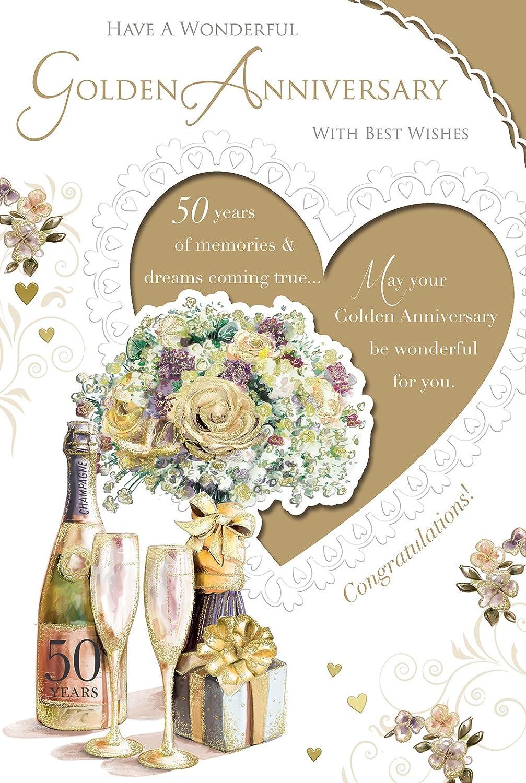 Carte Dor 50e Anniversaire De Mariage Champagne Or Fleurs Cadeau 229 X 152 Cm