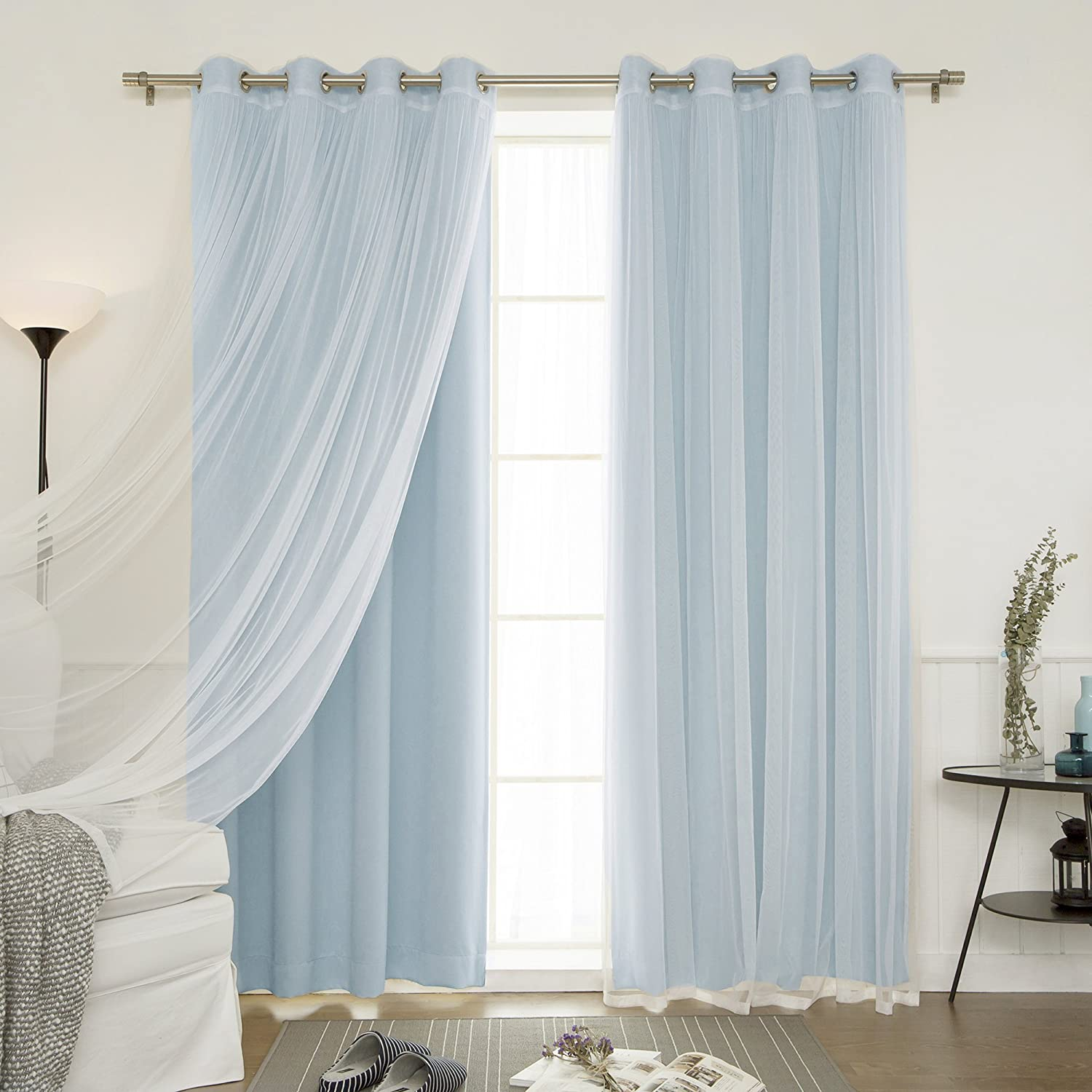 Best Home Fashion uMIXm Mix and Match Tulle Sheer Lace and Blackout 4 Piece Curtain Set – Stainless Steel Nickel Grommet Top – Ocean
