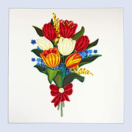 Quilling Tulip Flower Bouquet Greeting Card For All Occasions Birthday Love Anniversary Good Bye Thank You Mother Day Valentine Friendship