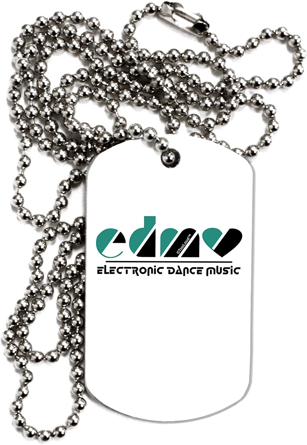 TOOLOUD EDM Heart Black Adult Dog Tag Chain Necklace