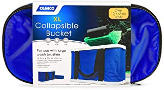Camco Rectangular Collapsible Wash Bucket with Zippered Storage Case - Ideal For Large Wash Brushes, Perfect For Car, Truck, Boat and RV Washing, Easy Storage After Each Use -Holds 5 Gallons (42973)