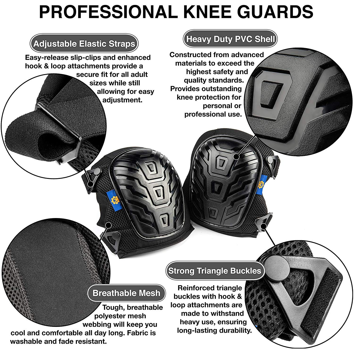 Rough Work Gear Professional Knee Pads - Built Tough To Last - Will Stay In Place All Day Long by Rough Work Gear (Image #2)
