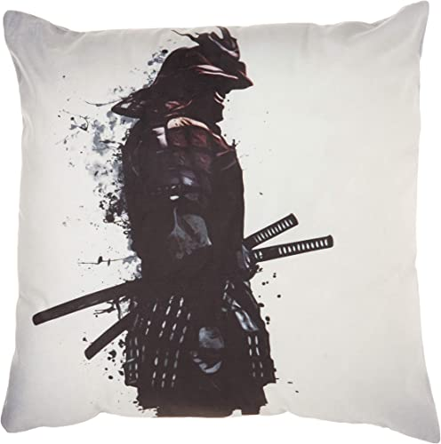 Cortesi Home Armored Samurai by Nicklas Gustafsson Decorative Soft Velvet Square Accent Throw Pillow with Insert, 18 x 18 , Black