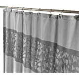 Brushed Nickel Decorative Fabric Shower Curtain With Free Magnetic PEVA Liner 72 X
