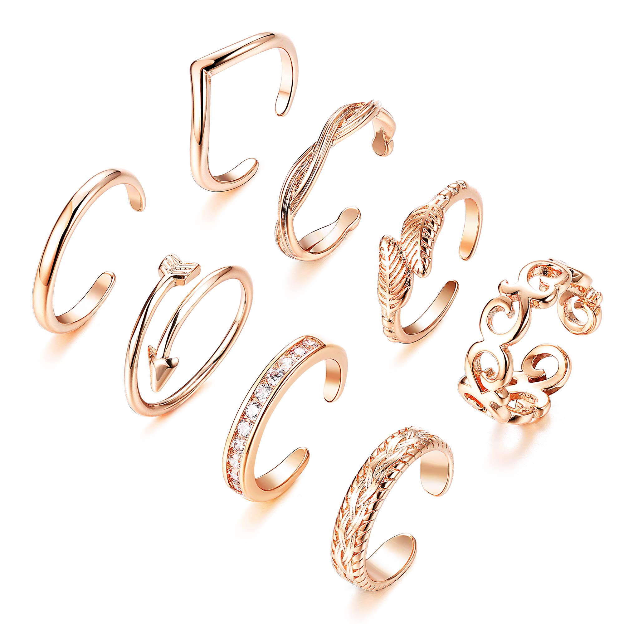 Finrezio 8PCS Adjustable Toe Ring for Women Girls Open Tail Ring Flower Knot Simple Toe Ring Gifts Jewelry Set by Finrezio