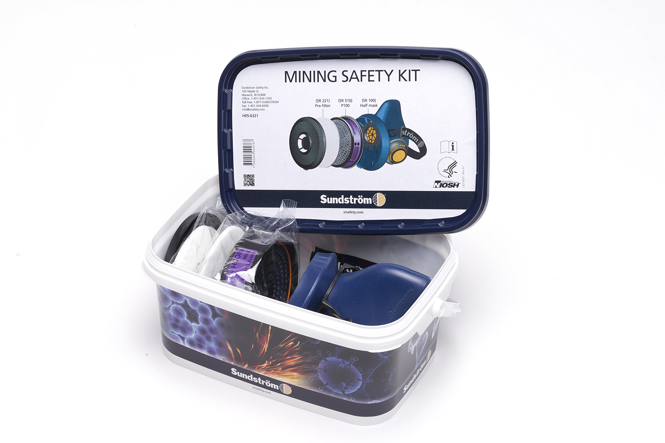 Sundstrom H05-6321M Mining Safety Respirator Kit with SR 100 M/L Silicone Half Mask, P100/HE Particulate Filter and Prefilters
