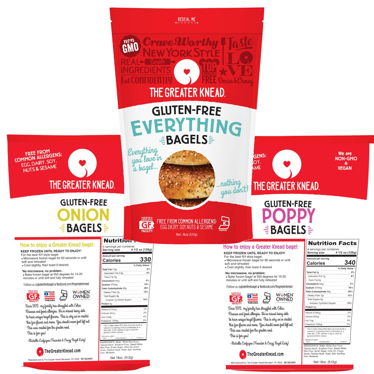 Greater Knead Gluten Free Bagel Savory Combo Pack - Poppy Seed, Onion & Everything - Vegan, non-GMO, Free of Wheat, Nuts, Soy, Peanuts, Tree Nuts (12 bagels) by The Greater Knead