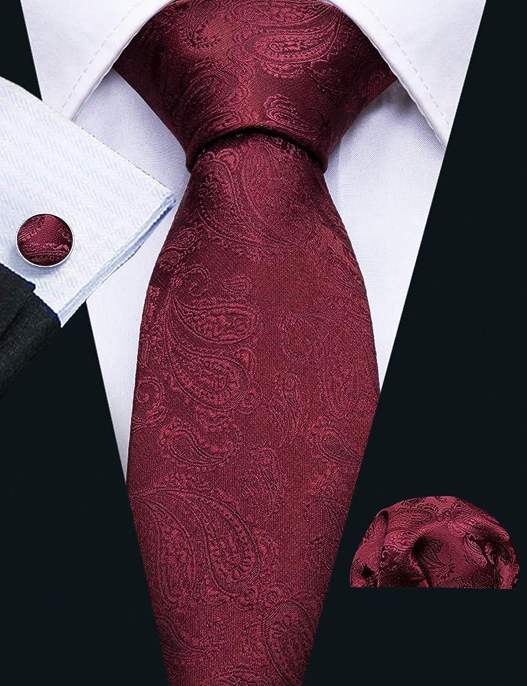 Blue Brown Black Gold Green Red Floral Mens Tie Set Silk Necktie Hanky Cufflinks