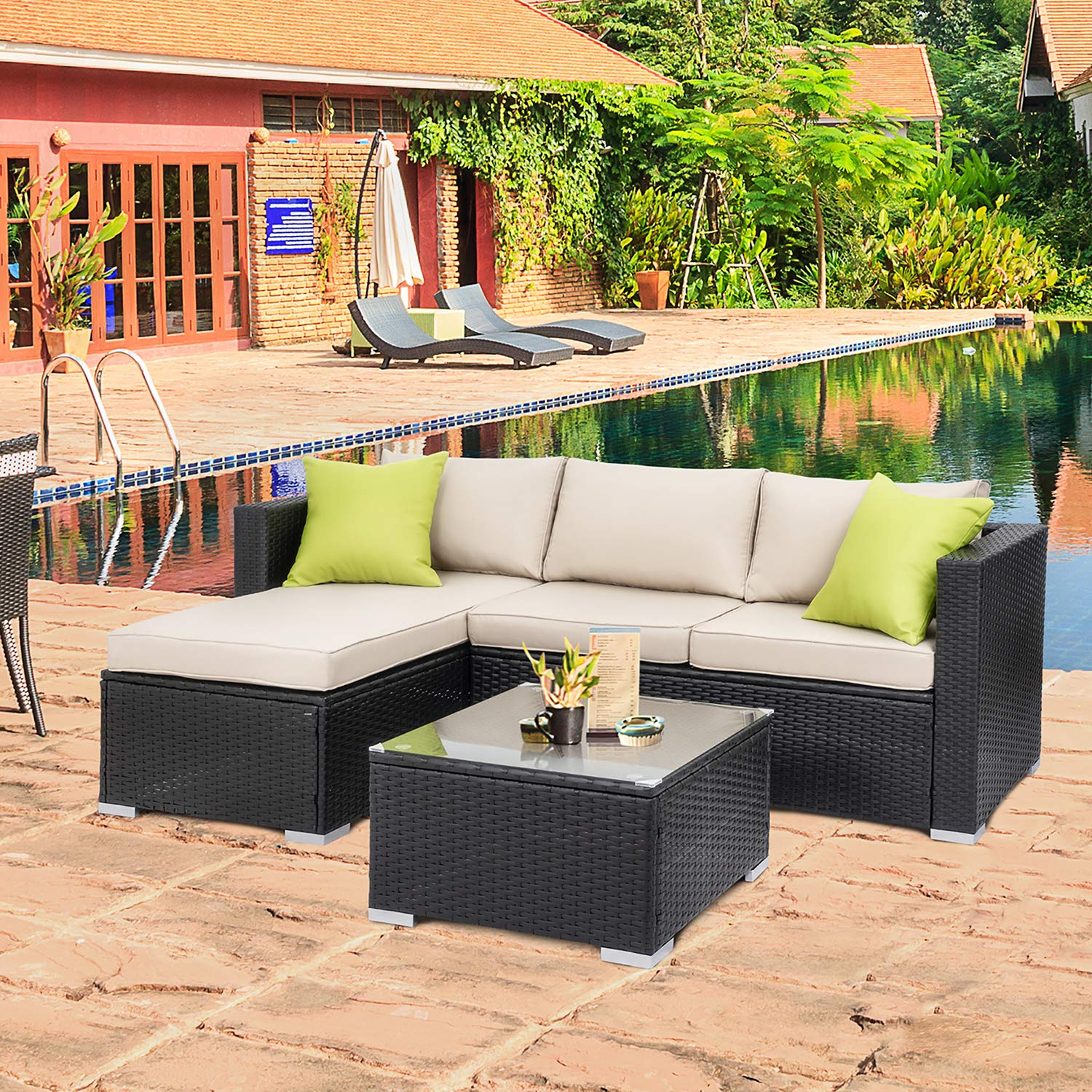 Walsunny Outdoor Rattan Sectional Sofa- Patio Wicker Furniture Set (Khaki) by Walsunny