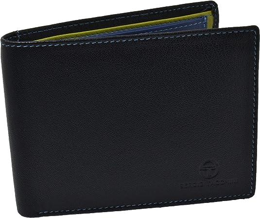Imagen deSergio Tacchini, cartera de cuero genuino para hombres, resistente, con monedero con clip, delgado, tarjetero, interior multicolor